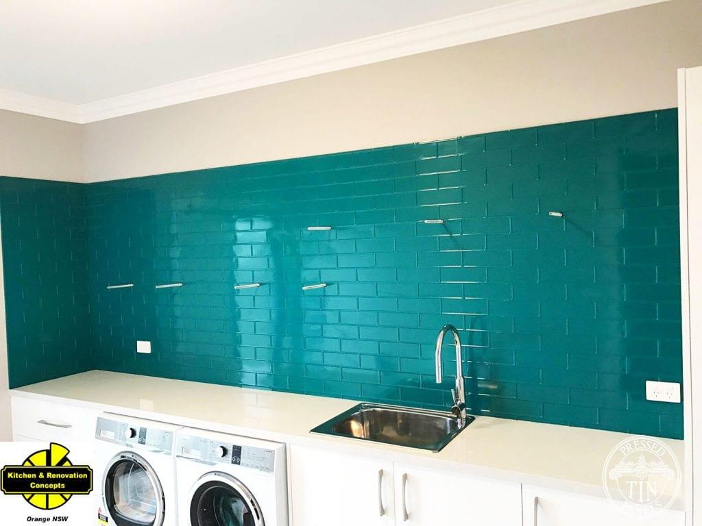 Pressed Tin Panels Brick Laundry Splashback Turquoise Powder Coat