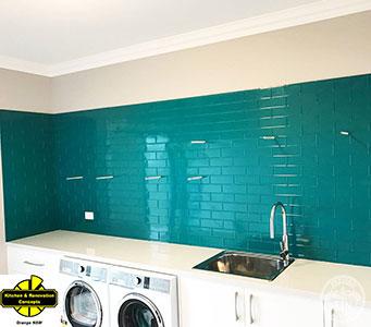 Pressed Tin Panels KCO Brick 900x1800 Turquoise LaundrySplashback Thumbnail