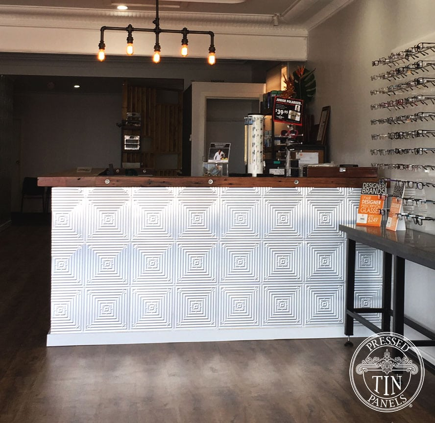 Pressed Tin Panels Illusion Reception Desk Eye Care Plus Close
