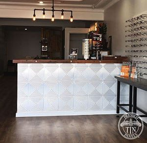 Pressed Tin Panels Illusion 600x1800 ReceptionDesk Optometrist Thumbnail