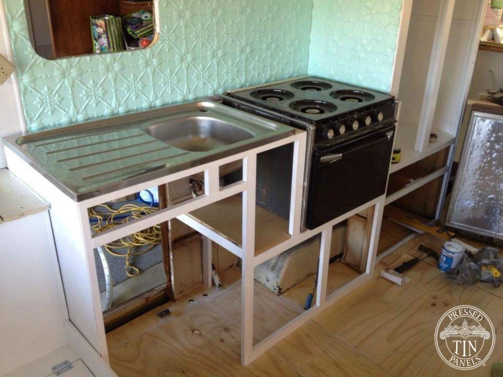 Pressed Tin Panels Original Splashback Caravan Restoration During