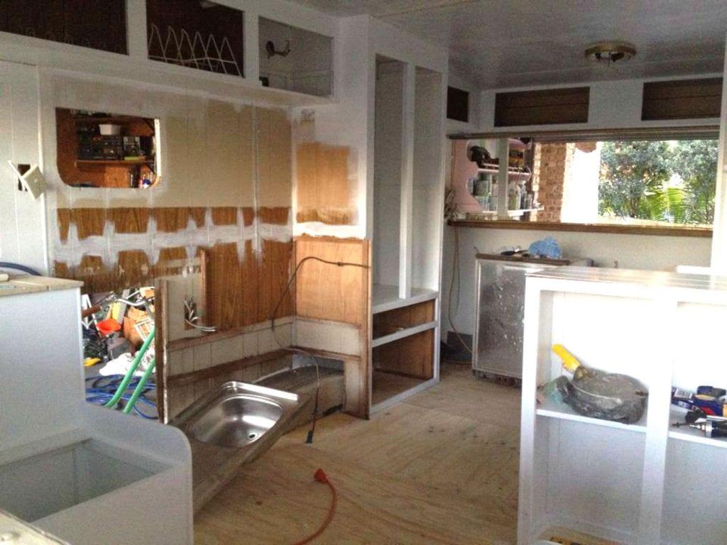 Pressed Tin Panels Original Splashback Caravan Restoration Before