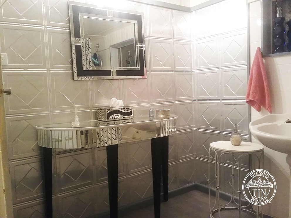Pressed Tin Panels Art Deco Bathroom Feature Wall Silver