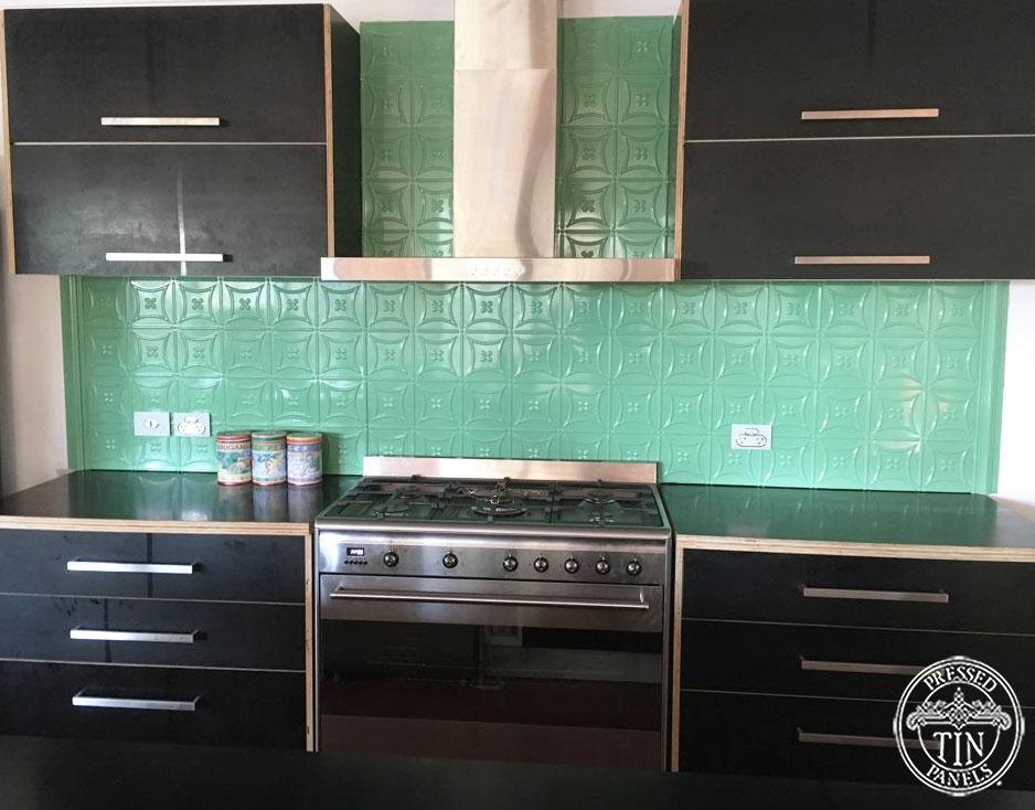 Pressed Tin Panels Carnivale Kitchen Splashback Serpentine Green