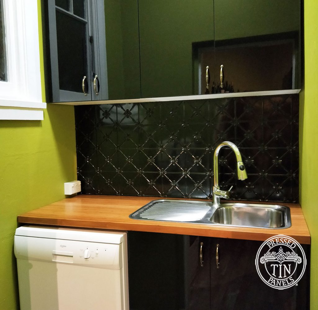 Pressed Tin Panels Clover Kitchen Splashback Black Gloss