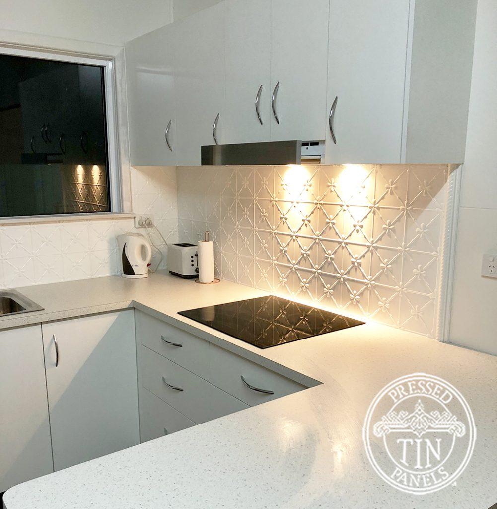 Pressed Tin Panels Clover Kitchen Splashback Bright White