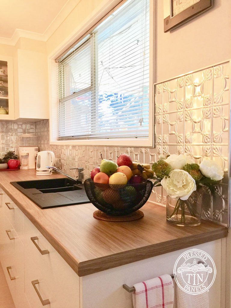 Pressed Tin Panels Evans Kitchen Splashback Raw