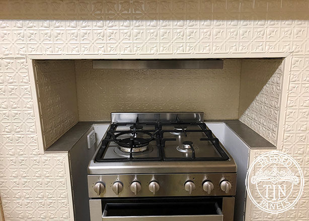 Pressed Tin Panels Lachlan Hearts Kitchen Splashback and Feature Surround Close