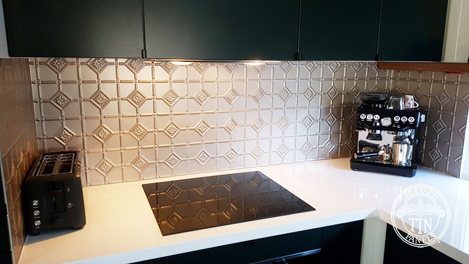 Pressed Tin Panels Mudgee Kitchen Splashback Copper Kinetic Pearl
