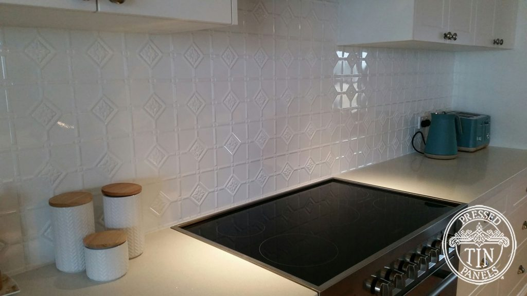Pressed Tin Panels Mudgee Kitchen Splashback Bright White
