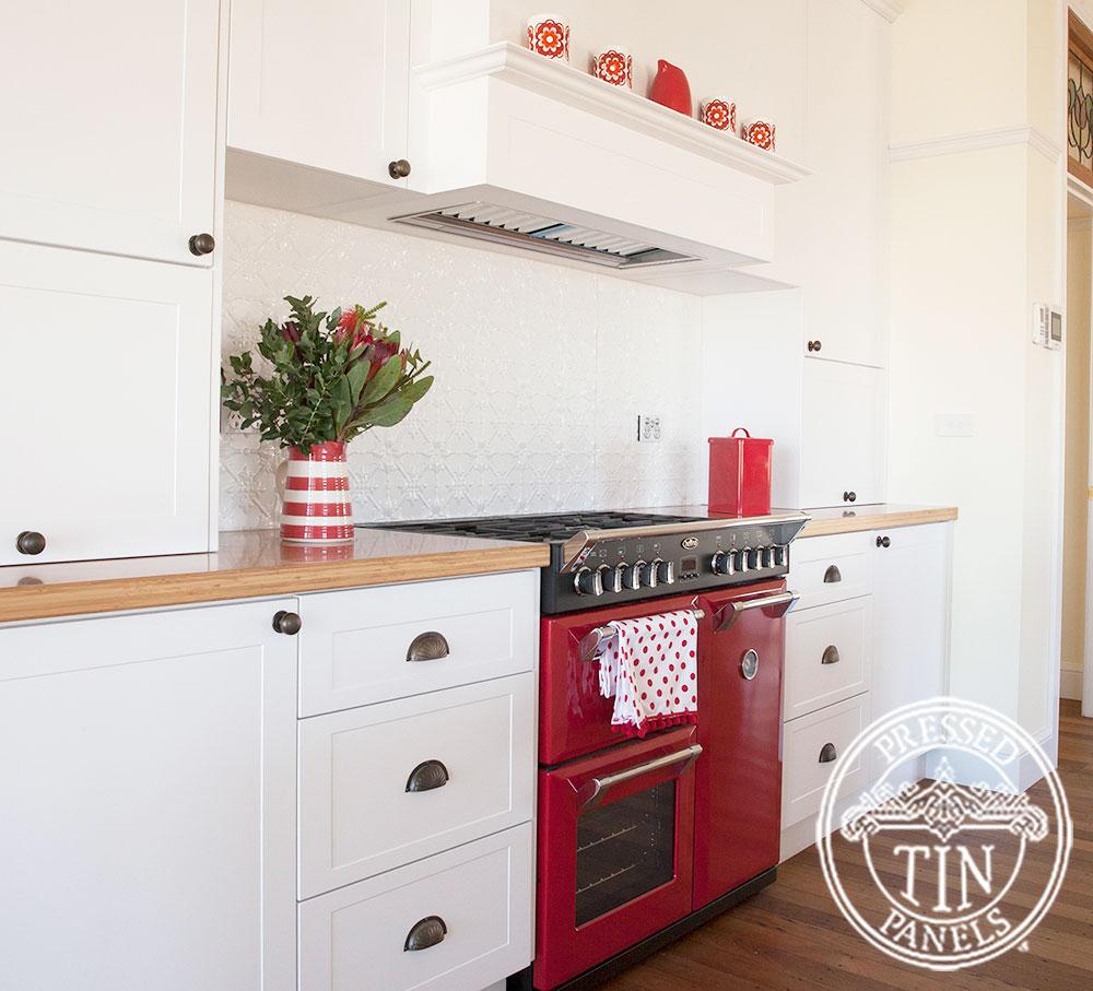 Pressed Tin Panels Original Kitchen Splashback Bright White