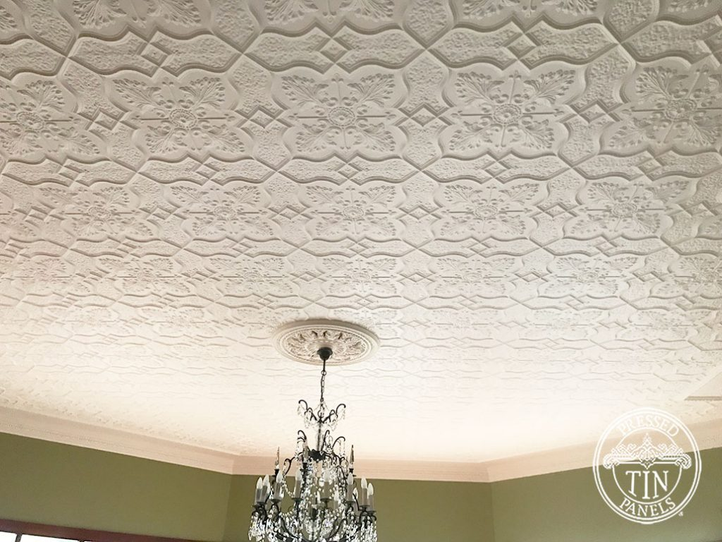 Pressed Tin Panels Shield Ceiling Feature White