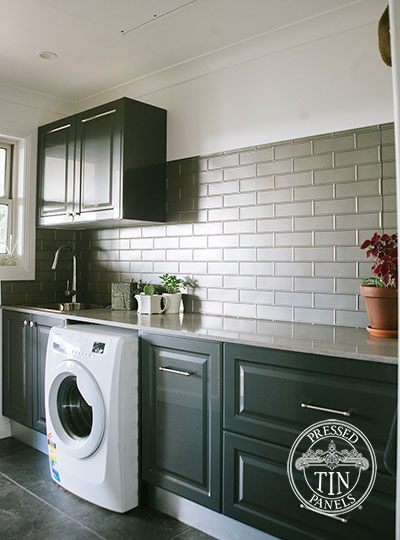 Pressed Tin Panels Brick Laundry Splashback Platypus Kinetic Pearl powder coat over head cupboards