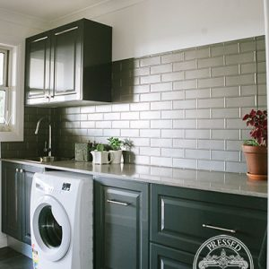 Pressed Tin Panels Brick Laundry Splashback Mercury Silver