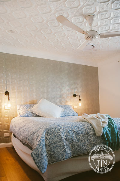 Pressed Tin Panels Carnivale Feature Wall Platypus Kinetic Pearl  Powder Coat and Harris Ceiling Main Bedroom