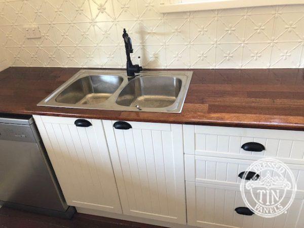 Pressed Tin Panels Clover Kitchen Splashback Classic White Country