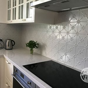 Pressed Tin Panels Clover Kitchen Splashback Mercury Silver Modern