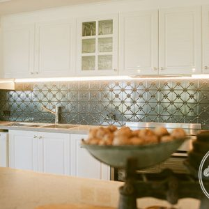 Pressed Tin Panels Clover Kitchen Splashback Steel Pearl