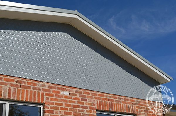 PressedTinPanels Fish Scale Facade Wind Spray Powder Coat