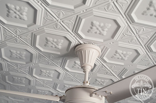 Pressed Tin Panels Harris Ceiling White Fan Fitting