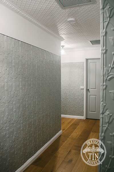 Pressed Tin Panels Lily vertical Hallway Shale Grey