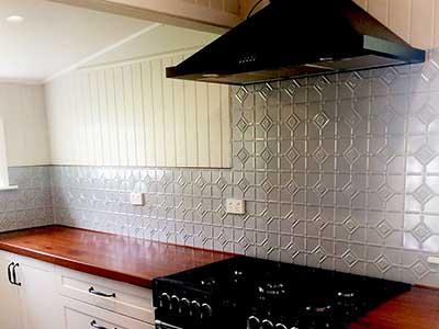 Pressed Tin Panels Mudgee Mercury Silver Kitchen Splashback