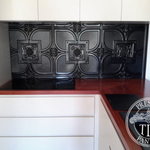 Pressed Tin Panels Alexandria Kitchen Splashback Black Gloss