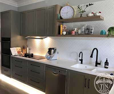 Savannah Kitchen Splashback White Satin