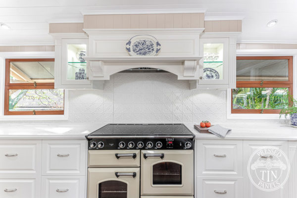 Pressed Tin Panels Clover KitchenSplashback BrightWhite DanaKitchens