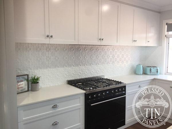 Pressed Tin Panels Original Kitchen Splashback WhiteSatin RebeccaWeis