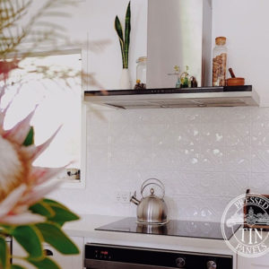 Pressed Tin Panels Snowflakes KitchenSplashback White OurSandyDays