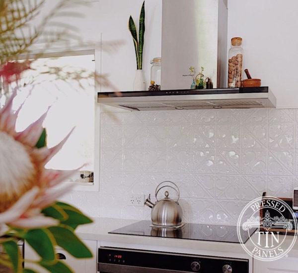 Pressed Tin Panels Snowflakes KitchenSplashback White OurSandyDays