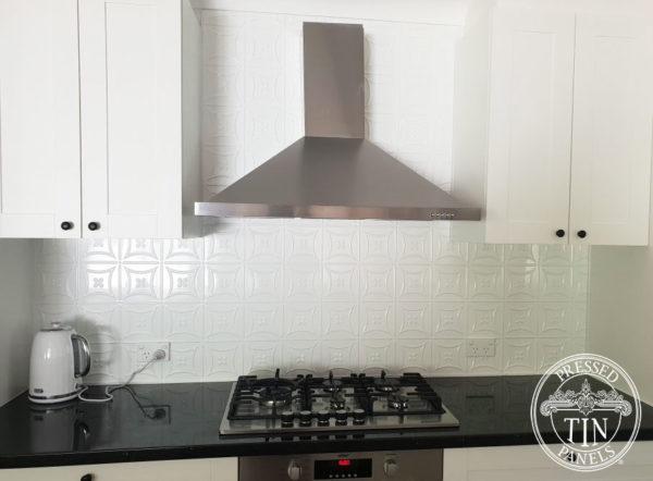 Pressed Tin Panels Carnivale Kitchen Splashback Classic White