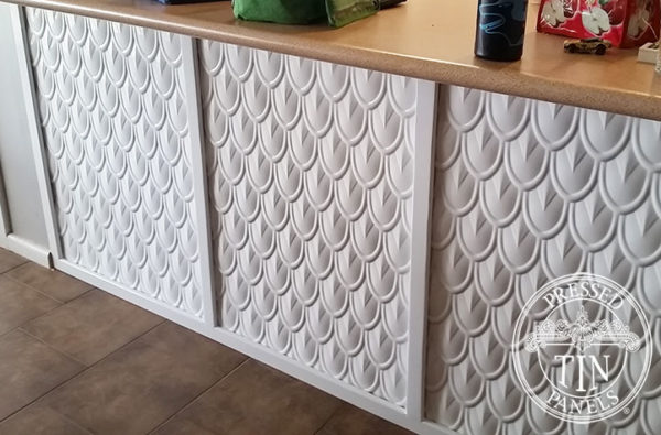 Pressed Tin Panels Fish Scale Counter Front Classic White