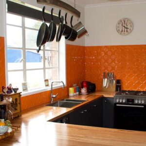 PressedTinPanels Lattice KitchenSplashback Orange StephenRead
