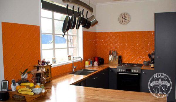 PressedTinPanels Lattice KitchenSplashback Orange StephenRead